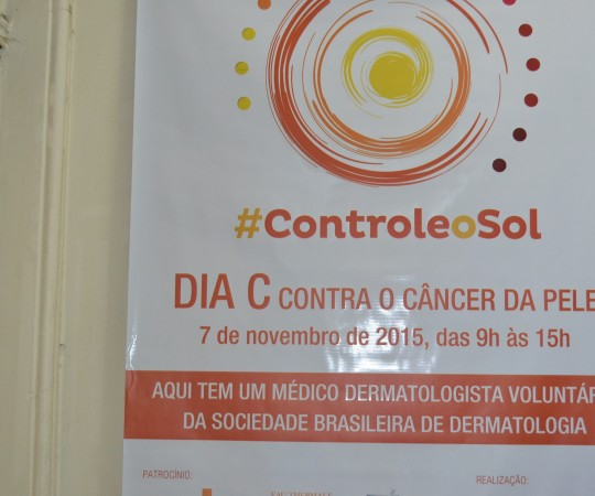 Cartaz da Campanha de Prevenção ao Câncer da Pele realizada nas dependências do Hospital Beneficência Portuguesa de São Paulo, sob a Coordenação do Prof. Dr. Luiz Jorge Fagundes, Coordenador Científico do CEADS.