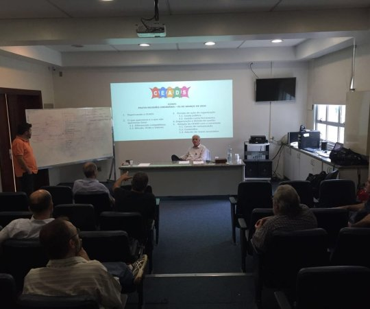 Aspecto do Auditório da Beneficência Portuguesa com a presença dos colaboradores do CEADS no encontro de definições dos projetos do CEADS.