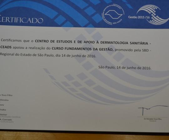 """Certificado emitido pela SBD RESP para o CEADS que deu o apoio para o Curso de """"Fundamentos Gestão"""""""