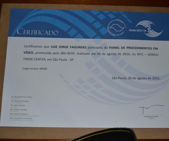 """Certificado de Participação do Prof. Dr. Luiz Jorge Fagundes, Coordenador Científico do CEADS no Evento """" Painel de Procedimentos em Vídeo""""."""