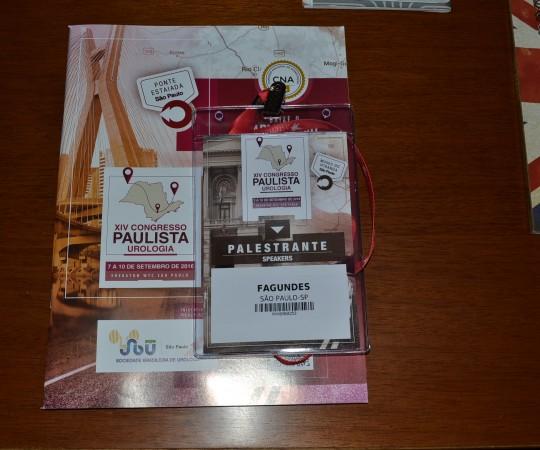 Programa Oficial do XIV Congresso Paulista de Urologia e o Crachá de Palestrante do Prof. Dr. Luiz Jorge Fagundes, Coordenador Científico do CEADS.