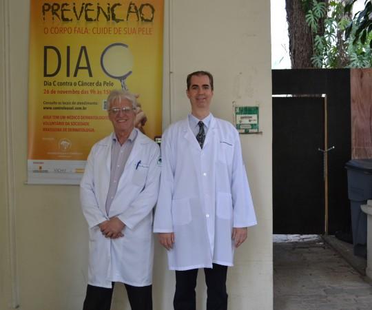 O Prof. Dr. Luiz Jorge Fagundes, Coordenador Científico do CEADS e o Dr. Leonardo Abrucio Neto, Voluntário do CEADS e Co- Organizador da Campanha Nacional de Prevenção ao Câncer da Pele.