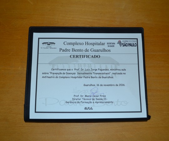 Certificado de Palestrante, conferido ao Prof. Dr. Luiz Jorge Fagundes,Coordenador Científico do CEADS, pela sua palestra sobre DST no Complexo  Hospitalar  Padre Bento de Guarulhos.