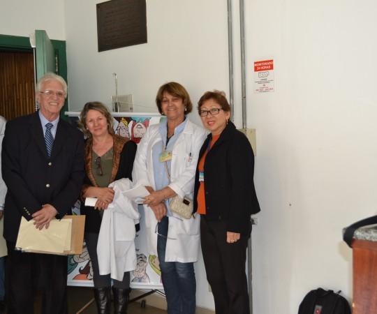 O Prof. Dr. Claudio Gonsalez, a Enfermeira Rosângela Marchesini, a Profa. Dr. Suely Ciosak , a  Colaboradora do CEADS no Centro de Saúde Dilma Aparecida Machado de Oliveira e o Prof. Dr. Luiz Jorge Fagundes, Coordenador Científico do CEADS.