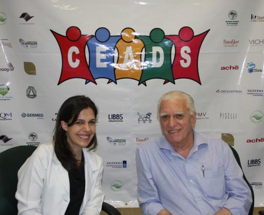 """A Dra. Mariana Hafner, Coordenadora do 61 Fórum de Debates do CEADS, com o tema: """"Eczema das Mãos"""" e o Prof. Dr. Luiz Jorge Fagundes, Coordenador Científico do CEADS."""