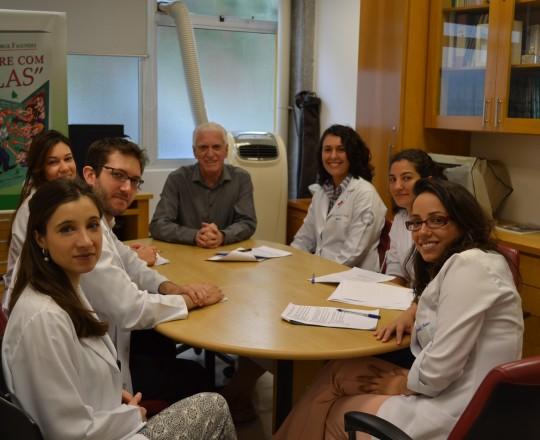 O Prof. Dr. Luiz Jorge Fagundes, Coordenador Científico do CEADS e os Estagiários de IST do mês de fevereiro de 2017, durante a realização da Prova Final de IST.