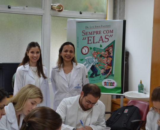 A Dra. Nathalia Targa, Colaboradora do CEADS ,Dermatologista Sanitária,a Biomédica Fátima Morais, Colaboradora do CEADS´e Responsável pelo Laboratório de DST e os Estagiários de DST de abril de 2017, durante a realização das provas finais do Estágio.
