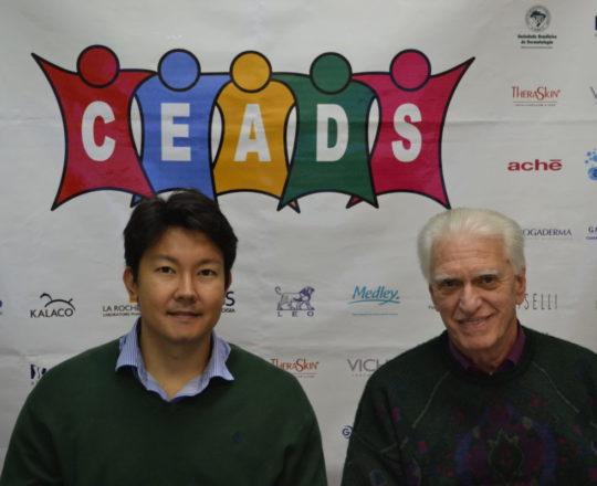 """O Dr. Denis Miyashiro, Colaborador do CEADS , Pós Graduando de Dermatologia e Palestrante do tema: """"Medicamentos Biológicos em Oncologia Cutânea""""  e o Prof. Dr. Luiz Jorge Fagundes, Coordenador Científico do CEADS e Organizador do Fórum."""