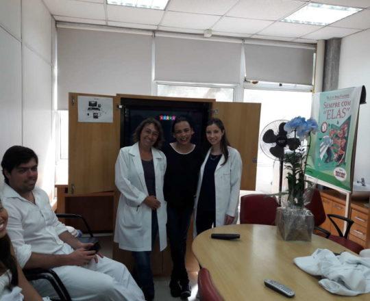 As Colaboradoras do CEADS, a Enfermeira Natalina Lima, a Biomédica Fátima Morais e  a Aniversariante Dra. Nathalia Targa Pinto.