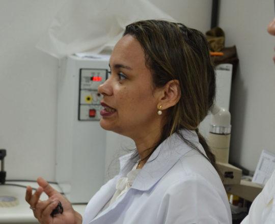 A Biomédica Fátima Regina Borges Morais, Responsável pelo Laboratório de DST e Colaboradora do CEADS, durante a apresentação da Lâminas do acervo do CEADS.
