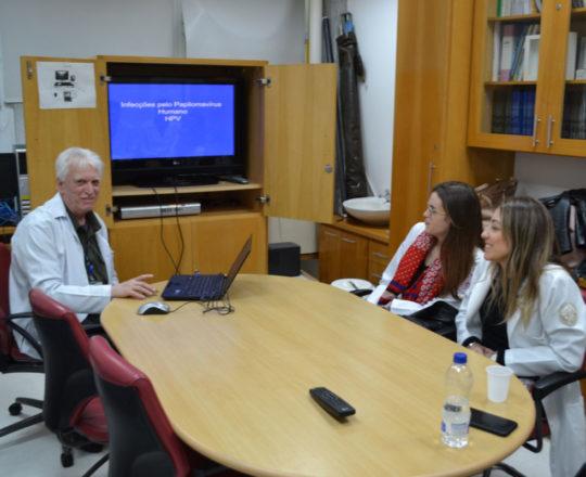 Os Estagiários de DST de junho de 2018 e o Prof. Dr. Luiz Jorge Fagundes, durante a Palestra sobre a Infecção pelo HPV.