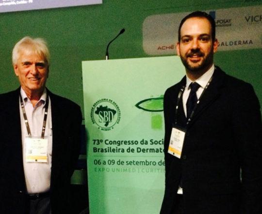 """O Prof. Dr. Luiz Jorge Fagundes e o Dr. Fernando Fagundes Coordenadores do Simpósio sobre """"Fundamentos da Gestão""""."""