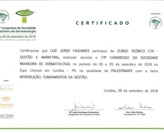 """Certificado de Participação no Curso de """"Gestão e Marketing"""" , como Palestrante."""