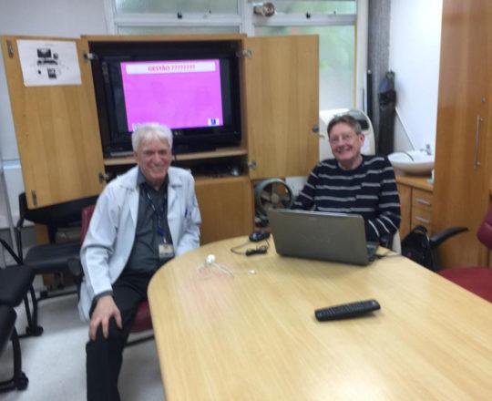 """O Prof. Jorge Brolio e o Prof. Dr. Luiz Jorge Fagundes, Coordenador Científico do CEADS, durante a aula sobre"""" Gestão da Mudança de Carreira"""""""