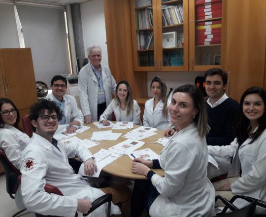 O Prof. Dr. Fagundes e os Estagiários de DST de outubro de 2018, duarante a realização das Provas Finais do Estágio.