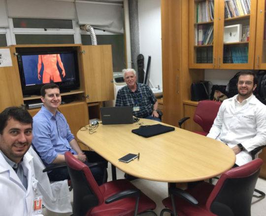 O Prof Dr. Fagundes e os Estagiários de  DST de fevereiro de 2019, durante a apresentação do Homem Virtual